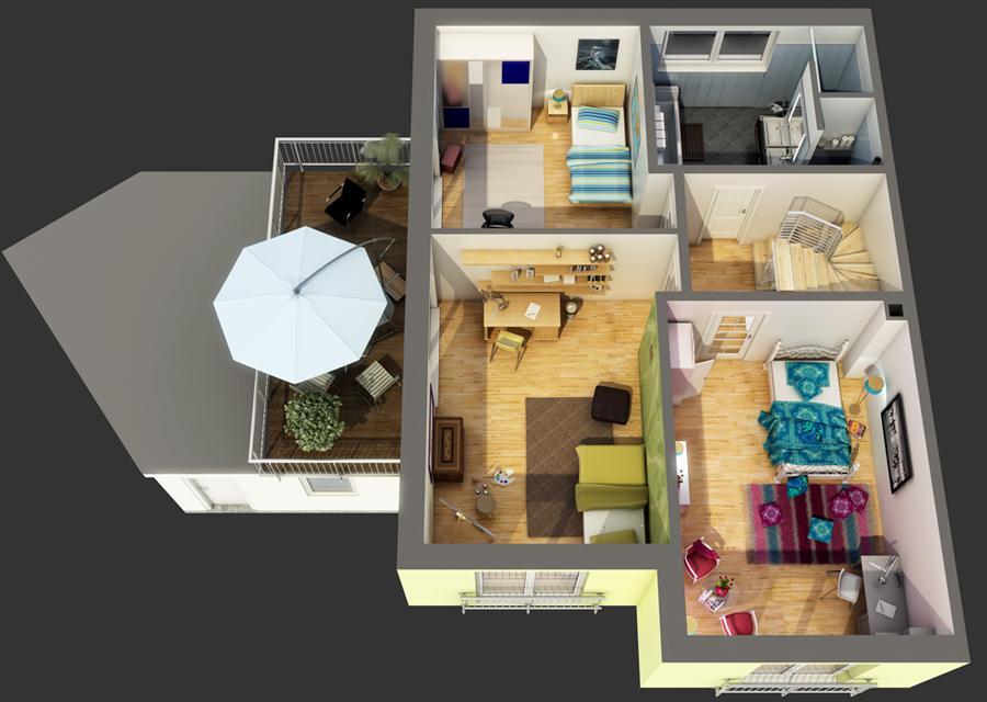 Traumhaus grundriss 3d  Galerie: Beispiele für 2D-Grundrisse von 3D-Artifex 3D-Artifex