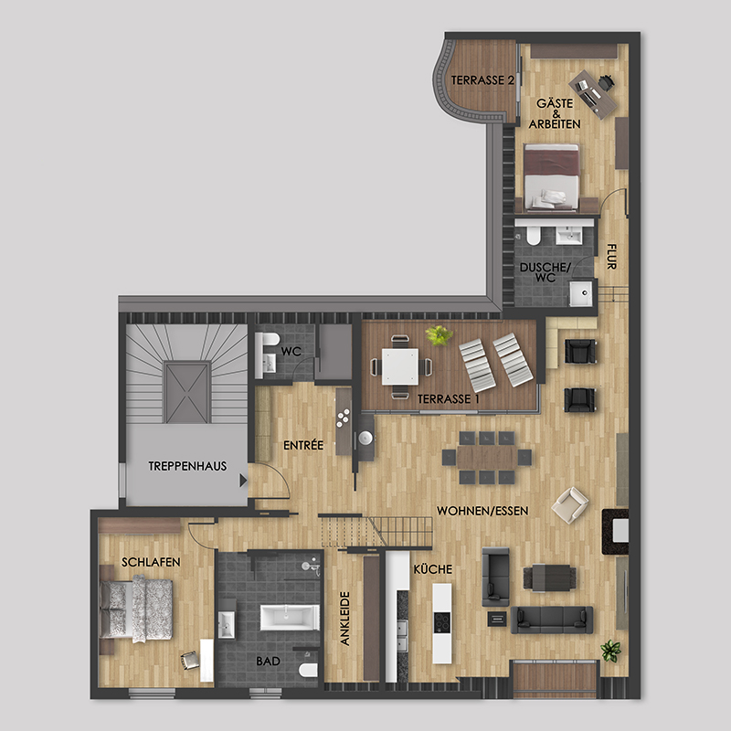 Treppenhaus grundriss 3d  Galerie: Beispiele für 2D-Grundrisse von 3D-Artifex 3D-Artifex